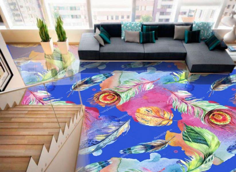 Напольное покрытие с рисунком Обои, Линолеум ПЕРЬЯ НА СИНЕМ ФОНЕ в интерьере гостиной