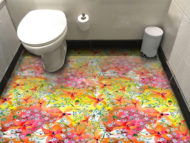 Напольное покрытие с рисунком Обои, Линолеум ПОЛЕ ЦВЕТОВ в интерьере туалета