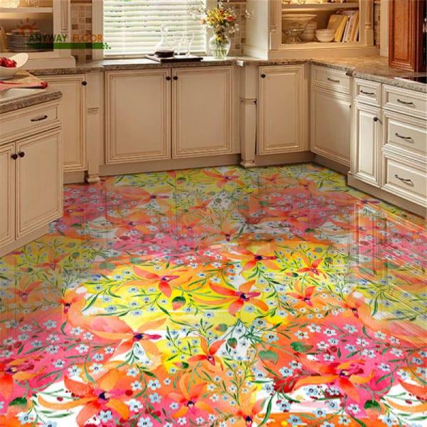 Напольное покрытие с рисунком Обои, Линолеум ПОЛЕ ЦВЕТОВ в интерьере кухни