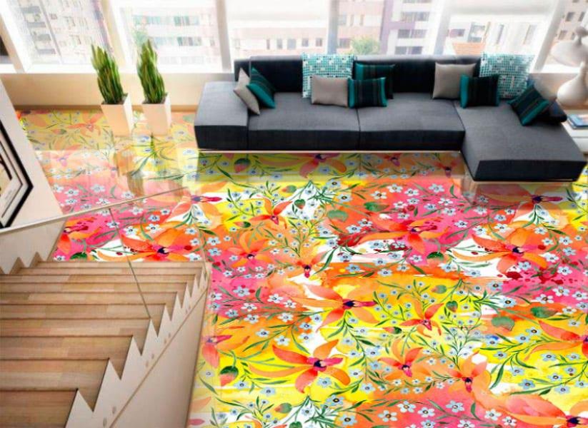 Напольное покрытие с рисунком Обои, Линолеум ПОЛЕ ЦВЕТОВ в интерьере гостиной