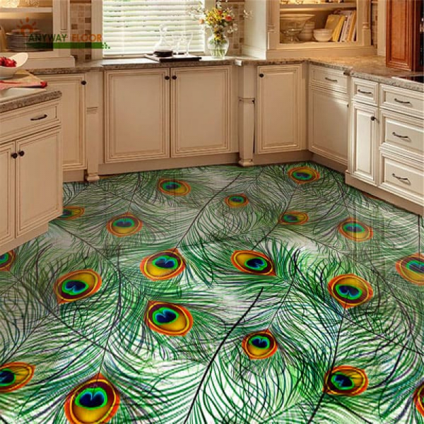 Напольное покрытие с рисунком Обои, Линолеум ПЕРЬЯ ПАВЛИНА в интерьере кухни
