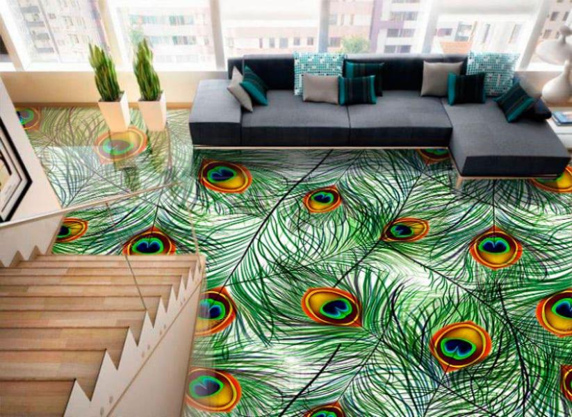 Напольное покрытие с рисунком Обои, Линолеум ПЕРЬЯ ПАВЛИНА в интерьере гостиной