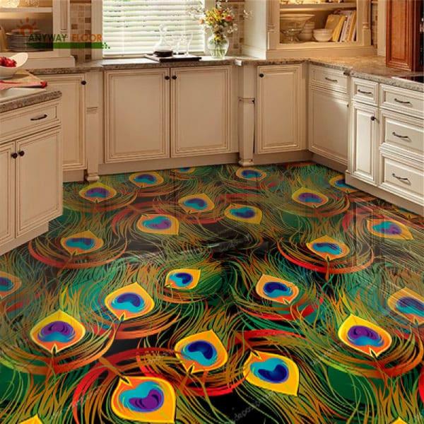 Напольное покрытие с рисунком Обои, Линолеум ПАВЛИНЬИ ПЕРЬЯ в интерьере кухни