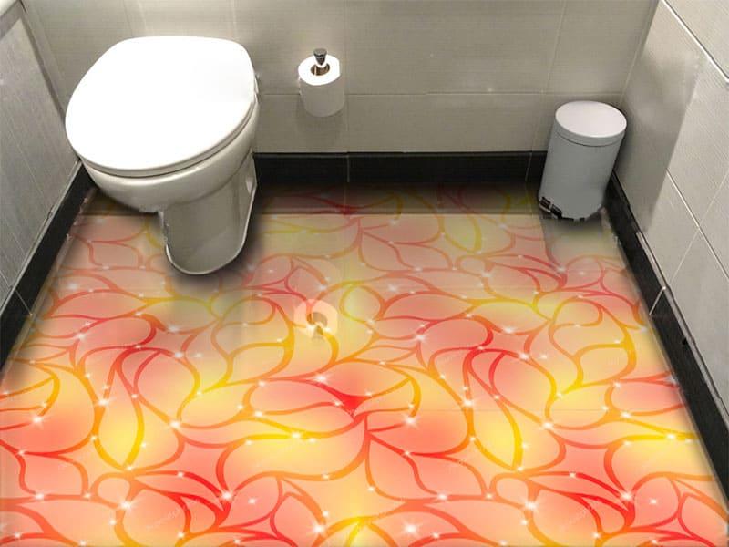 Напольное покрытие с рисунком Обои, Линолеум АБСТРАКТНЫЙ РИСУНОК ЛИСТЬЯ в интерьере туалета