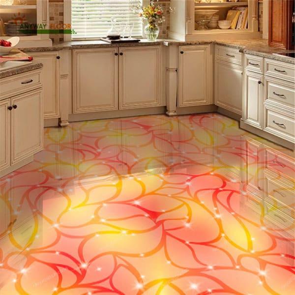 Напольное покрытие с рисунком Обои, Линолеум АБСТРАКТНЫЙ РИСУНОК ЛИСТЬЯ в интерьере кухни