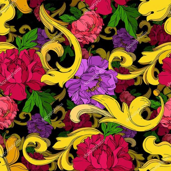 Напольное покрытие с рисунком Обои, Линолеум ЦВЕТЫ УЗОРЫ НА ЧЕРНОМ ФОНЕ