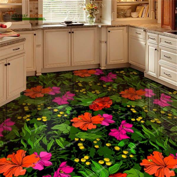 Напольное покрытие с рисунком Обои, Линолеум ЛЕСНЫЕ ЦВЕТЫ в интерьере кухни