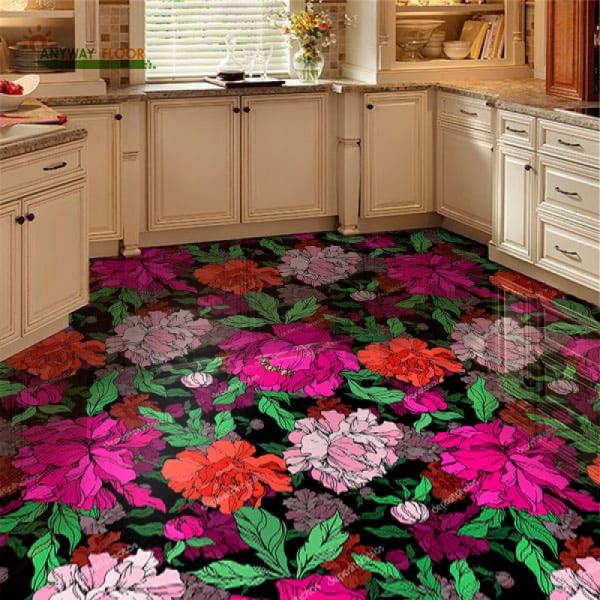 Напольное покрытие с рисунком Обои, Линолеум ПИОНЫ в интерьере кухни