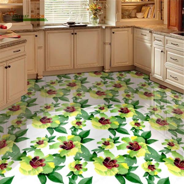 Напольное покрытие с рисунком Обои, Линолеум ЖЕЛТЫЕ ЦВЕТЫ в интерьере кухни