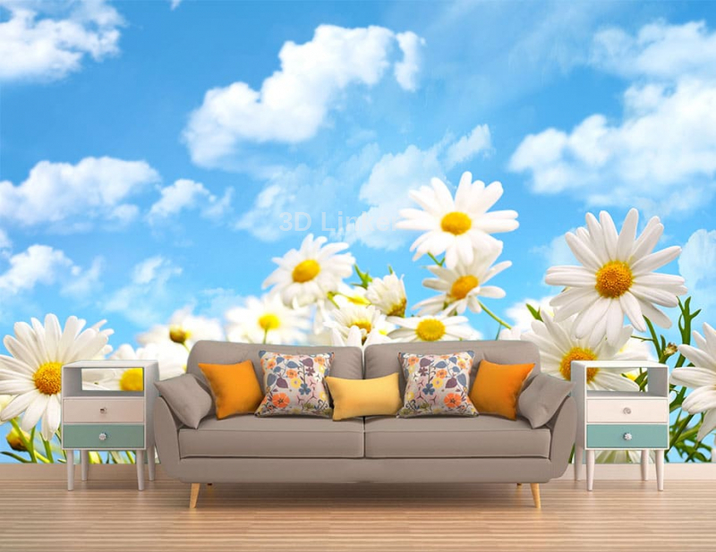 """Фотообои купить """"Ромашки, голубое небо, белые облака"""" в интерьере №2"""