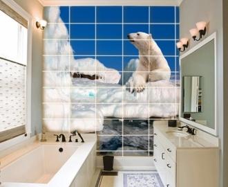 """Плитка с фотопечатью в ванную """"Айсберг, белый медведь"""""""