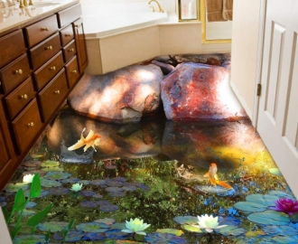 """Линолеум с рисунком """"Пруд с золотыми рыбками, большие камни"""" купить"""