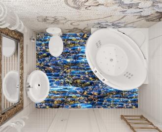 """3d обои для пола """"Камушки под прозрачной водой"""" визуализация №1"""