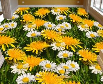 """Обои для пола """"Желтые цветы, одуванчики, ромашки"""". Наклейка, печать для наливного пола."""