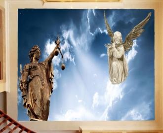 """Светящаяся наклейка на потолок """"Фемида и Ангел с флейтой"""""""