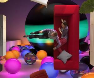 """Линолеум с рисунком """"Абстракция Разноцветные Шары"""" купить"""