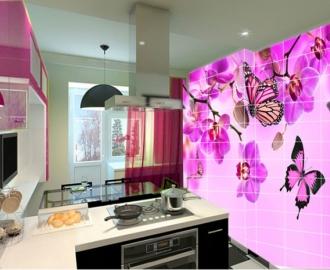 Плитка с рисунком на стену для кухни вариант №10