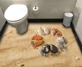 """Фотообои для пола """"Песок, камушки, рисунок"""""""
