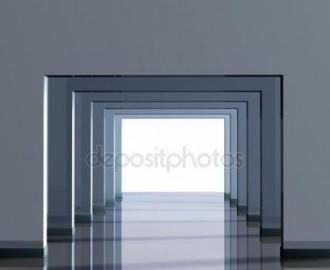"""Фотообои на стену купить """"Коридор серый, рамки"""" визуализация №1"""