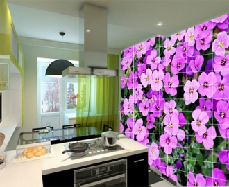 Плитка с рисунком на стену для кухни вариант№1
