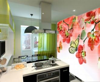 Плитка с рисунком на стену для кухни вариант №11