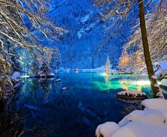 """Керамическая плитка с изображением """"Зима, пруд, снег"""""""