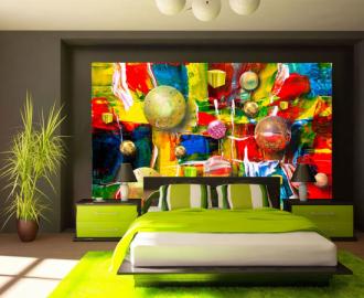 """Фотообои на стену купить """"Краски, шары, кубы"""""""