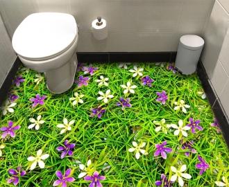 """Обои для пола в комнату """"Трава и цветочки"""" купить"""