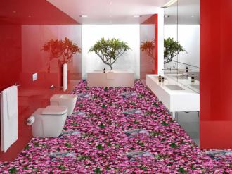 """Линолеум с рисунком  купить """"Розовые, лесные цветочки"""""""