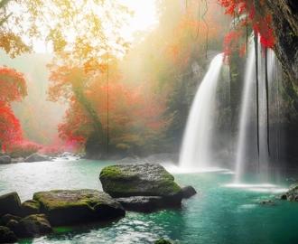 """Керамическая плитка с изображением """"Водопад, рассвет, красные деревья"""""""