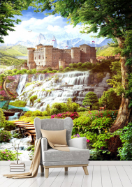 """Фотообои Фреска """"Замок, водопад, дорожка"""""""