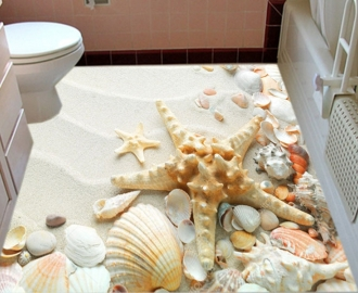 """Линолеум """"Белый песок, морская звезда, ракушки"""". Напольное покрытие купить."""