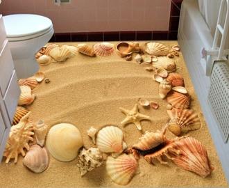 """Фотообои для пола """"Песок, рисунок на песке, ракушки, морские звезды"""""""