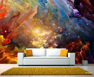"Фотообои на стену купить ""Абстракция, яркие краски"" визуализация №1"