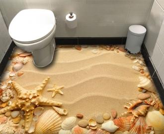 """Фотообои для пола """"Желтый песок, морские ракушки и звезды"""""""
