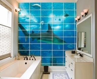 """Плитка с изображением """" Океан, Акула"""". Фотопечать на плитке."""