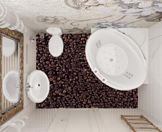 """Линолеум с рисунком """"Зерна кофе"""" купить визуализация №1"""