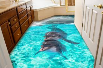 """Обои для пола """"Два дельфина, волна"""". Наклейка, печать для наливного пола в интерьере №3"""