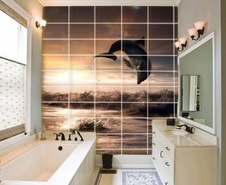 """Плитка с изображением """" Дельфин в прыжке, закат"""". Фотопечать на плитке."""