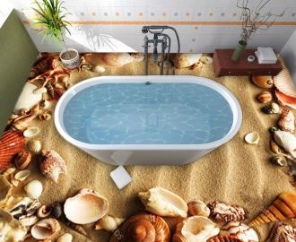 """Линолеум """"Желтый песок, рябь на песке, ракушки"""". Напольное покрытие купить."""