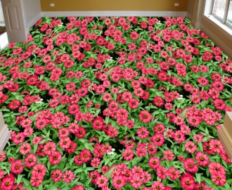"""3d обои для пола """" Цветы Лаватера розовые"""" купить визуализация №3"""