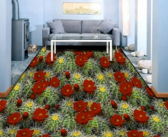 """3d обои для пола  """"Цветущие кактусы"""" купить №1"""