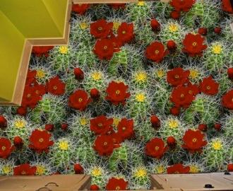 """3d обои для пола  """"Цветущие кактусы"""" купить №3"""