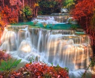 """Линолеум с рисунком """"Водопад в лесу"""" купить"""
