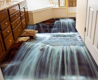 """Линолеум с рисунком """"Скала, водопад"""" купить"""