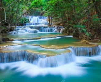 "Линолеум с рисунком ""Каскад водопада, Лес"" купить"