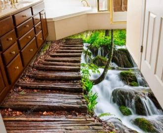 """Линолеум с рисунком """"Навесной мостик, водопад"""" купить"""