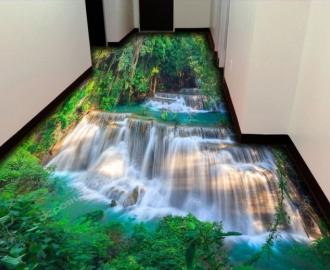 """Линолеум с рисунком """"Водопад в густом лесу"""" купить"""