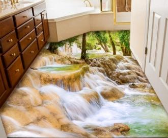"""Линолеум с рисунком """"Лесной водопад, большие камни"""" купить"""