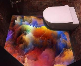 """Линолеум с рисунком """"Цветные облака"""" купить"""